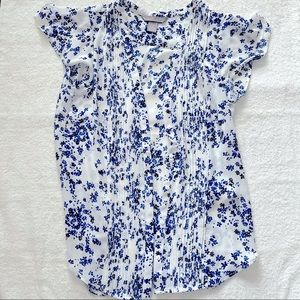 H&M Blue And White Floral Blouse